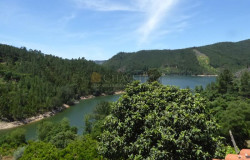 Three bedroom renovated house with a large plot of land bordering the Castelo do Bode lake near Dornes for sale.
